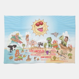 Beach Paradise California Kitchen Towel