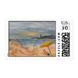 beach paradise summer vacation oil painting postage