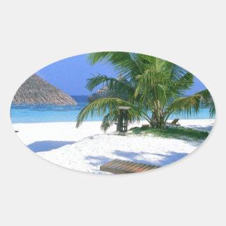 Beach Paradise Vacation Oval Sticker