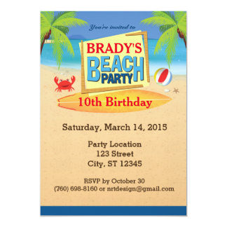 beach party invitations & announcements | zazzle, Party invitations