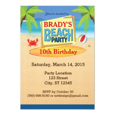 "ThePaperAffair Beach Party 5"" x 7"" Invitations"