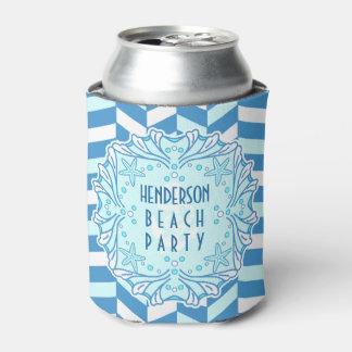 Beach Party Art Deco Shell and Herringbone Custom Can Cooler