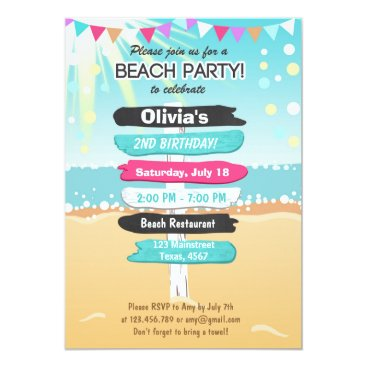 Anietillustration Beach Party Beach birthday Beach invitation