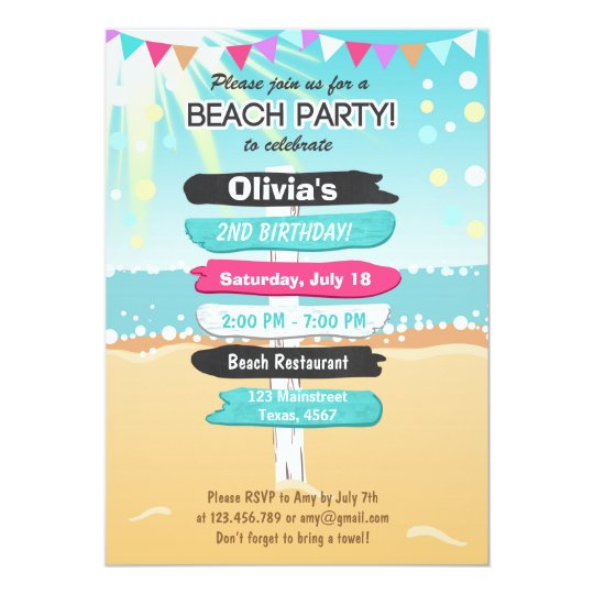 Beach Party Birthday Invitation Zazzle Com