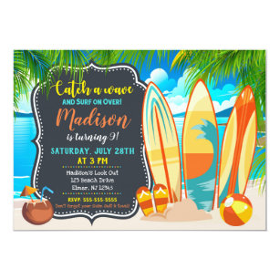 Beach Party Birthday Invitation Summer