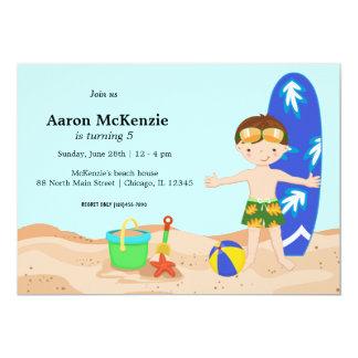 "Beach Party (Boy) 5"" X 7"" Invitation Card"