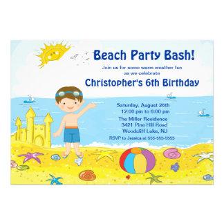 Beach Party Boy Swimming Birthday Invitation