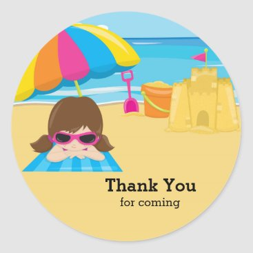 Beach Themed Beach party classic round sticker