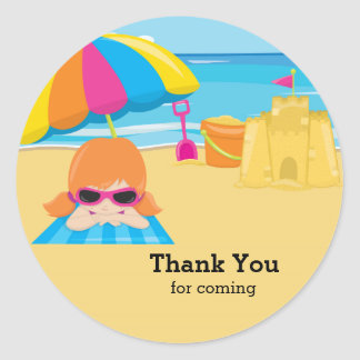 Beach party classic round sticker
