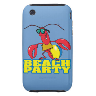 beach party cute lobster cartoon character tough iPhone 3 covers