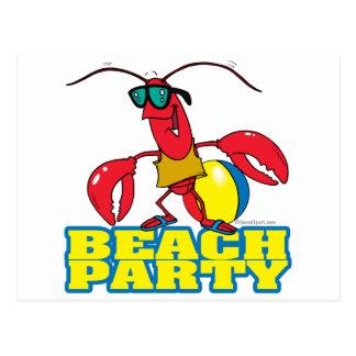 beach party cute lobster cartoon character postcard