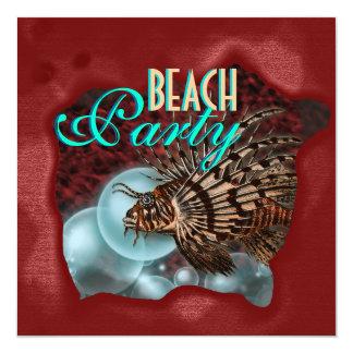 """Beach party"" elegant adults fishing Invite"