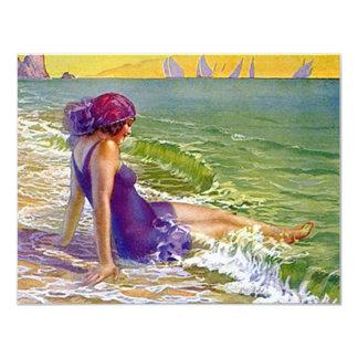 Beach Party Flapper Era Style Cloche Invitation