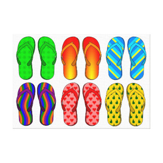 BEACH PARTY FLIP FLOPS CANVAS PRINT