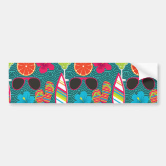 Beach Party Flip Flops Sunglasses Beach Ball Blue Bumper Sticker