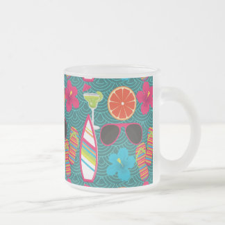 Beach Party Flip Flops Sunglasses Beach Ball Blue Frosted Glass Coffee Mug