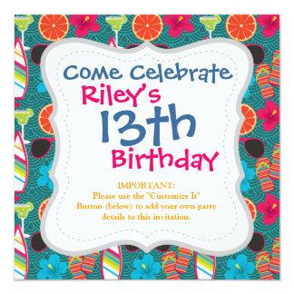 Beach Party Flip Flops Sunglasses Beach Ball Blue 5.25x5.25 Square Paper Invitation Card
