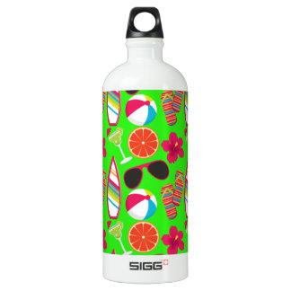 Beach Party Flip Flops Sunglasses Beach Ball Green Aluminum Water Bottle