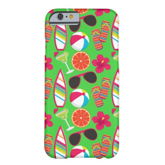 Beach Party Flip Flops Sunglasses Beach Ball Green Barely There iPhone 6 Case