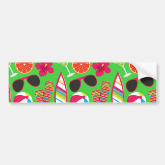 Beach Party Flip Flops Sunglasses Beach Ball Green Bumper Sticker