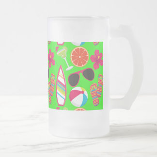 Beach Party Flip Flops Sunglasses Beach Ball Green Frosted Glass Beer Mug