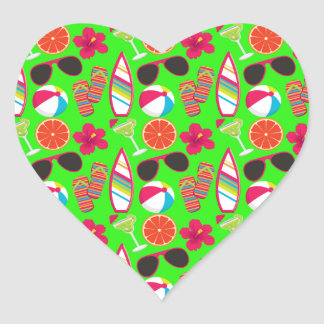 Beach Party Flip Flops Sunglasses Beach Ball Green Heart Sticker