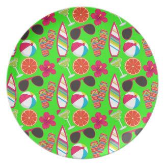 Beach Party Flip Flops Sunglasses Beach Ball Green Plate