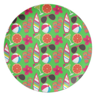 Beach Party Flip Flops Sunglasses Beach Ball Green Party Plate