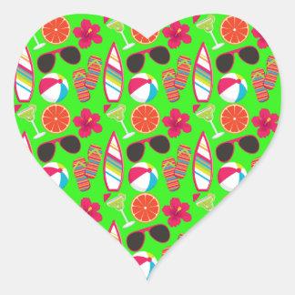 Beach Party Flip Flops Sunglasses Beach Ball Green Heart Sticker