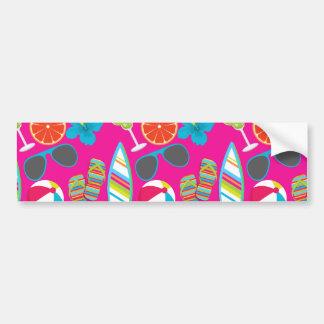 Beach Party Flip Flops Sunglasses Beach Ball Pink Bumper Sticker