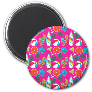 Beach Party Flip Flops Sunglasses Beach Ball Pink Magnet