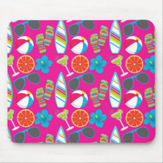 Beach Party Flip Flops Sunglasses Beach Ball Pink Mouse Pad