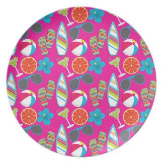 Beach Party Flip Flops Sunglasses Beach Ball Pink Party Plate