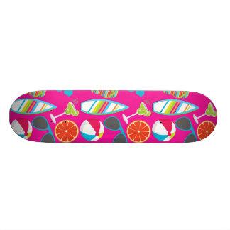 Beach Party Flip Flops Sunglasses Beach Ball Pink Custom Skate Board