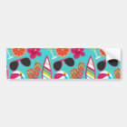 Beach Party Flip Flops Sunglasses Beach Ball Teal Bumper Sticker