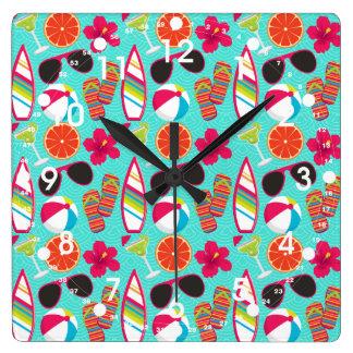 Beach Party Flip Flops Sunglasses Beach Ball Teal Square Wall Clock