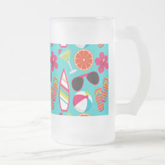 Beach Party Flip Flops Sunglasses Beach Ball Teal Frosted Glass Beer Mug