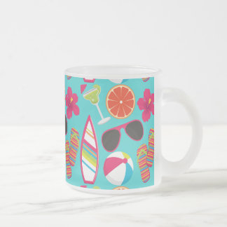 Beach Party Flip Flops Sunglasses Beach Ball Teal Frosted Glass Coffee Mug