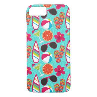 Beach Party Flip Flops Sunglasses Beach Ball Teal iPhone 8/7 Case