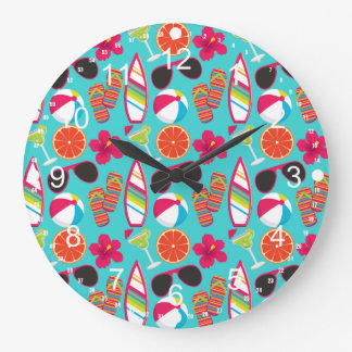 Beach Party Flip Flops Sunglasses Beach Ball Teal Large Clock