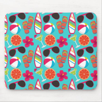 Beach Party Flip Flops Sunglasses Beach Ball Teal Mouse Pad