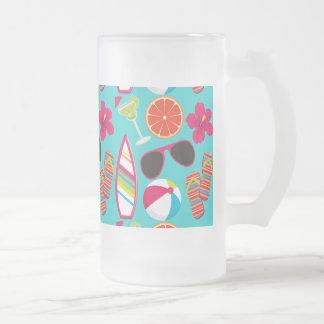 Beach Party Flip Flops Sunglasses Beach Ball Teal 16 Oz Frosted Glass Beer Mug