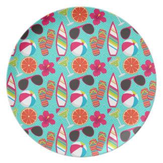 Beach Party Flip Flops Sunglasses Beach Ball Teal Plate