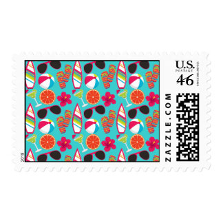 Beach Party Flip Flops Sunglasses Beach Ball Teal Postage Stamp