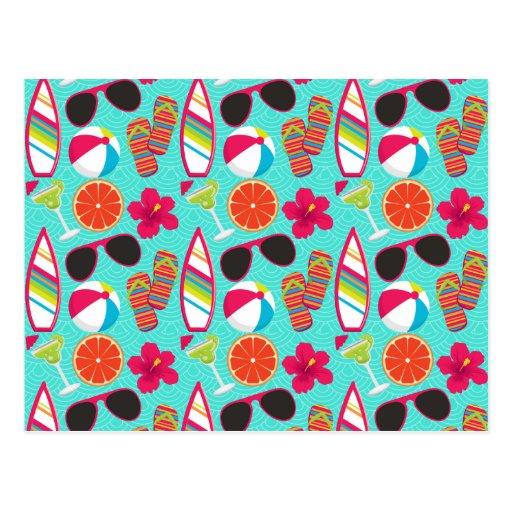 Beach Party Flip Flops Sunglasses Beach Ball Teal Postcard