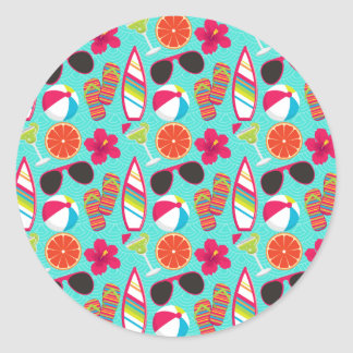 Beach Party Flip Flops Sunglasses Beach Ball Teal Round Stickers