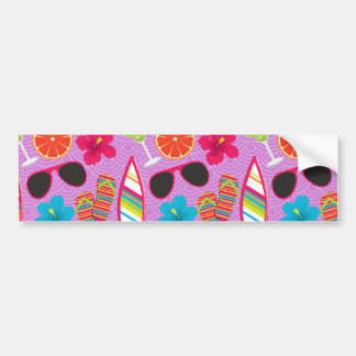 Beach Party Flip Flops Sunglasses Beachball Purple Bumper Sticker