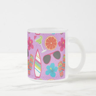 Beach Party Flip Flops Sunglasses Beachball Purple Frosted Glass Coffee Mug