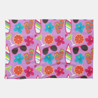 Beach Party Flip Flops Sunglasses Beachball Purple Hand Towel