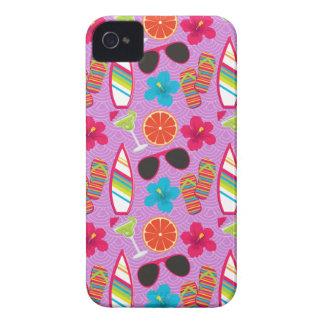 Beach Party Flip Flops Sunglasses Beachball Purple iPhone 4 Case
